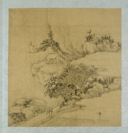 Landscape with a figure holding a walking stick and a boat on the river