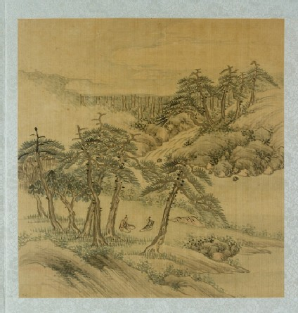 Landscape with two figures sitting under trees