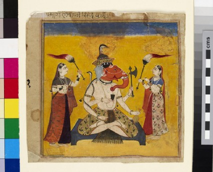 Seated Ganesha with female attendants