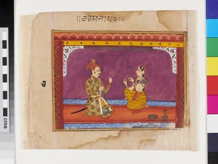 Nayaka and nayika seated in chamber