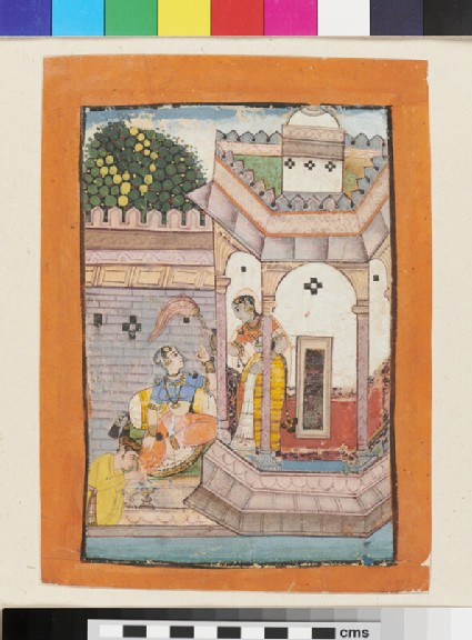 A nobleman shampoos a lady's foot outside a pavilion