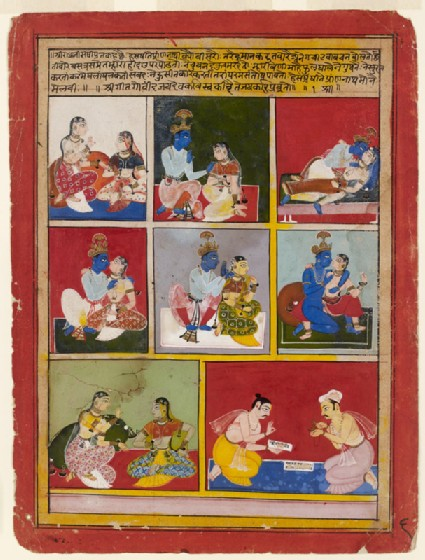 Scenes of Krishna, Radha, and her companion, and the poet Jayadeva