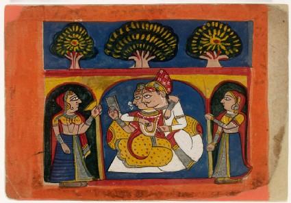 A Raja and lady gaze at a mirror