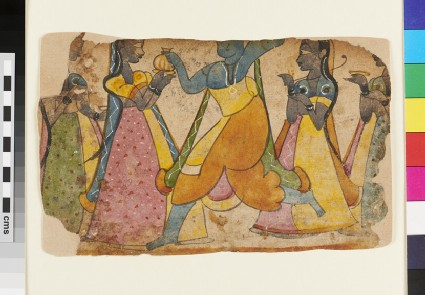 Krishna, possibly, dancing, attended by four maids, or gopis
