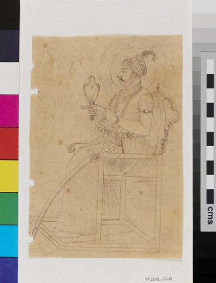 Ruler, possibly Emperor Muhammad Shah, with a hawk, seated on a throne