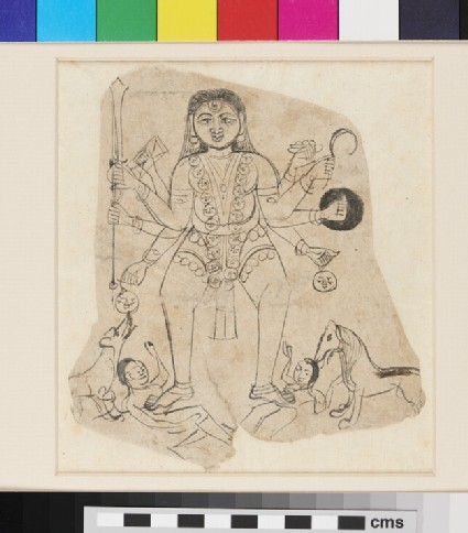 Shiva as Bhairava holding weapons, trampling corpses, attended by dogs