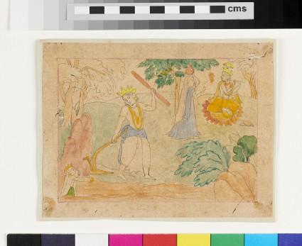 Balarama with plough, Krishna with flute