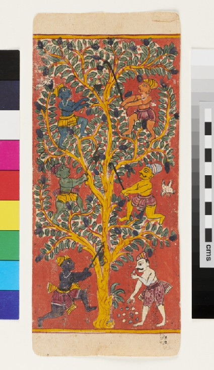 Men in a tree, representing the six taints, or leśyā, of the human soul