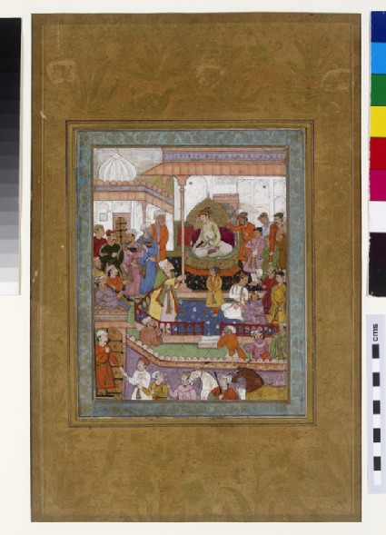 Court scene of a prince enthroned, with courtiers and attendants
