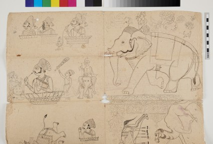 Miscellaneous drawings of Rajas, elephants and other animals, and decorative designs
