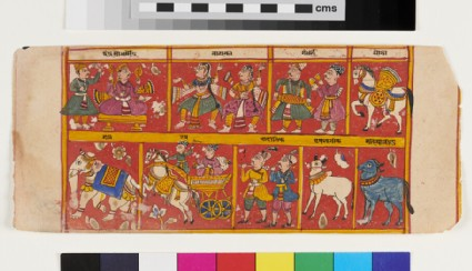 Multiple scenes including a king, god Indra, with dancers, musicians, horse, elephant