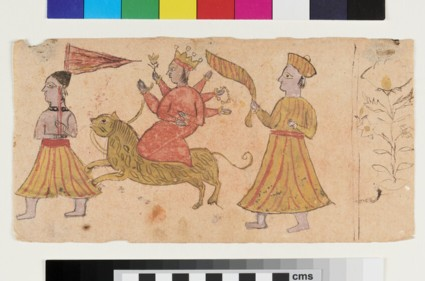 Recto: Durga riding a tiger with two attendants  