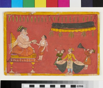 Enthroned bare-chested Raja, bestowing boon on younger man, possibly his son. Court musicians play, possibly for a wedding