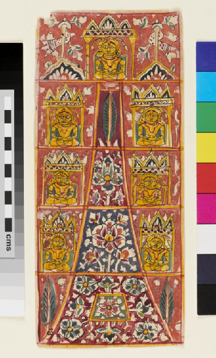 Vertical composition with seven Jina figures around a tall floral pyramid