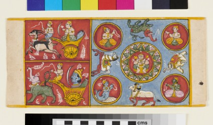 Page from a Jain manuscript depicting various deities, animals, a Jina within a Lotus
