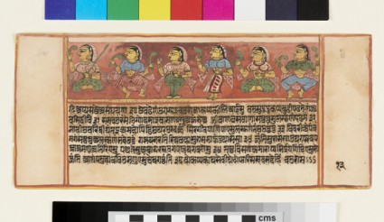 Page from a Sangrahani Sutra manuscript, depicting six deities