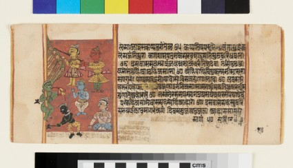 Page from a Sangrahani Sutra manuscript, depicting the Leśyas, cutting down a tree