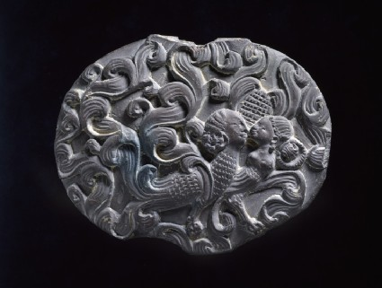 Box lid depicting a kinnara couple