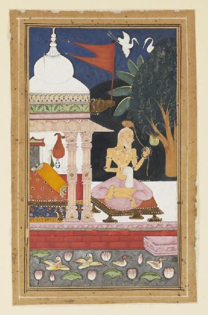 Ascetic by a lotus pool, illustrating the musical mode Devagandhara Ragini