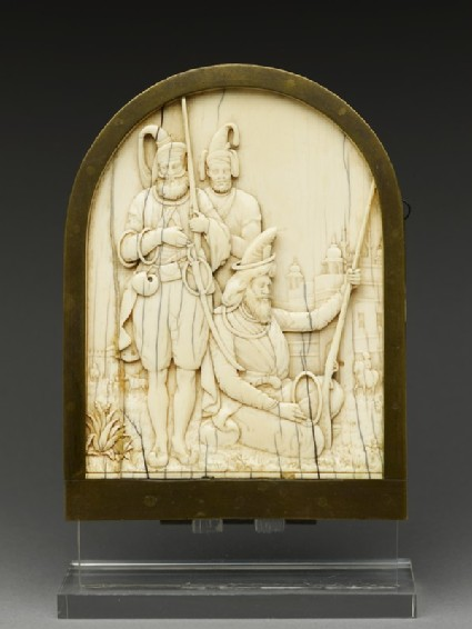 Ivory plaque depicting three Sikh warriors