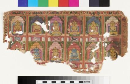 Jain manuscript frontispiece painting with twelve Tirthankaras