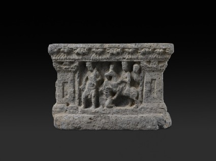 Square plinth with scenes from the Buddha's life