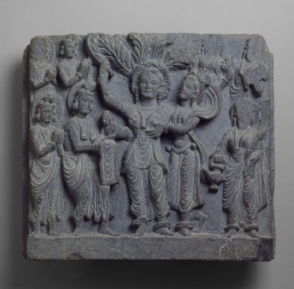 Relief depicting the birth of the Siddhartha Buddha