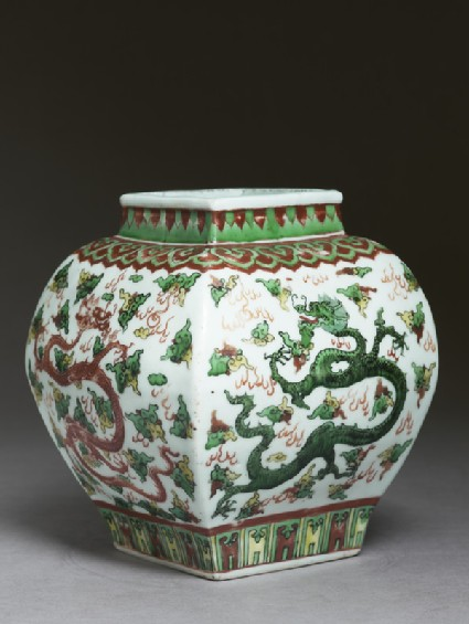Square vase with overglaze enamel decoration