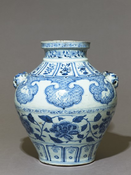Blue-and-white jar with horses and flowers