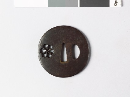 Lenticular tsuba with tessen, or clematis