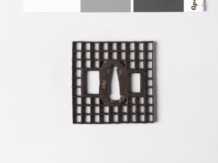 Square tsuba with chequer pattern