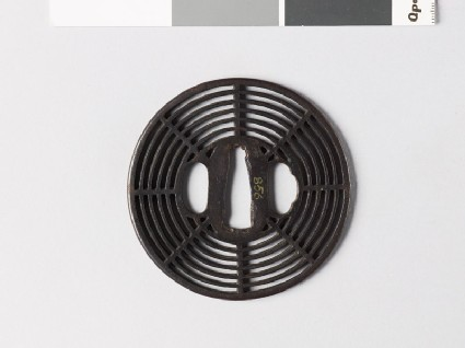 Round tsuba with cobweb design
