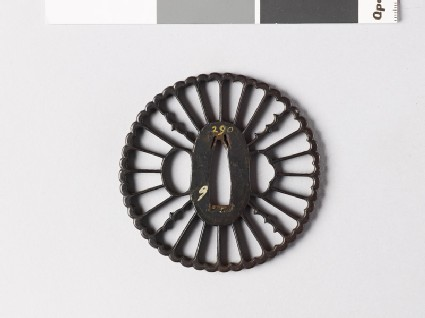 Tsuba with chrysanthemum florets and karigane, or flying geese