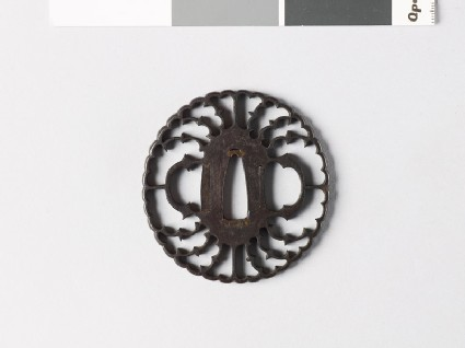 Tsuba in the form of a flower with myōga, or ginger shoots, and karigane, or flying geese