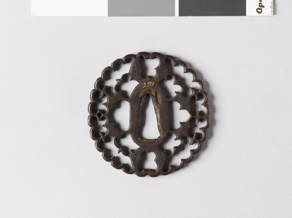 Tsuba with myōga, or ginger shoots, and four karigane, or flying geese