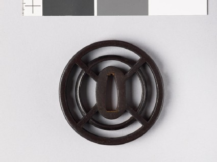 Round tsuba with openwork bands