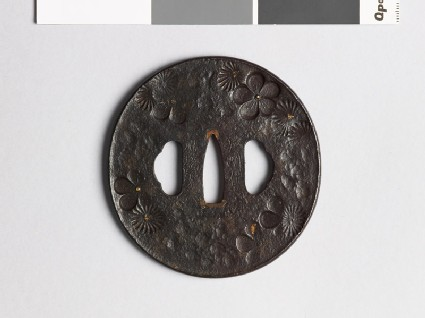 Tsuba with chrysanthemum and plum blossoms
