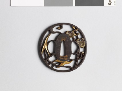Tsuba with arrow-head and aoi, or wild ginger