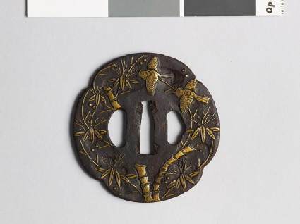 Mokkō-shaped tsuba with bamboo and birds