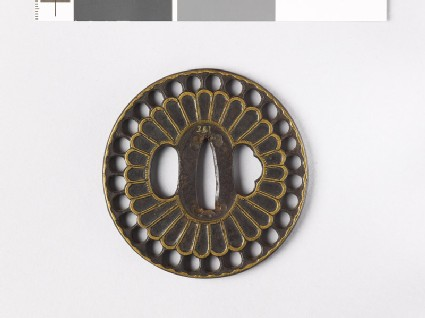 Tsuba with chrysanthemum florets