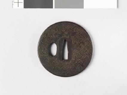 Round tsuba with swastikas
