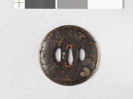 Tsuba with leaves and scrolling stems