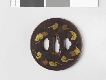 Round tsuba with clouds