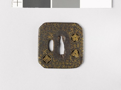 Square tsuba with plants including river-weeds