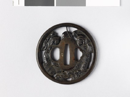 Tsuba depicting Yebisu and Daikoku, gods of luck