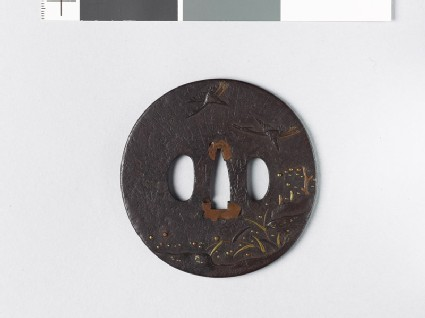 Tsuba with two flying egrets