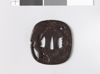 Tsuba with lotus leaves and dewdrops