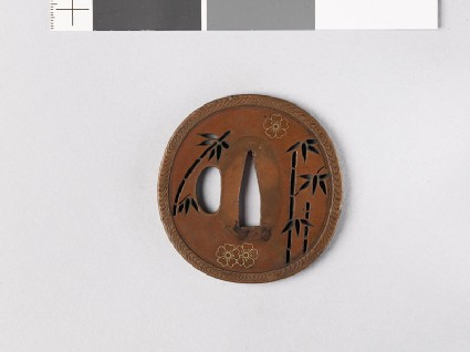 Tsuba with bamboo and cherry blossoms