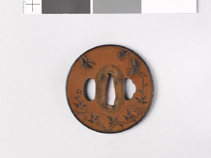 Round tsuba with peonies and butterflies