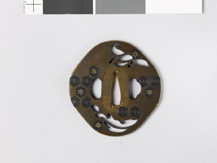 Tsuba with an orchid and hexagons